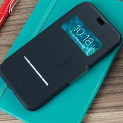 La housse Moshi SenseCover noire charbon pour iPhone 8 Plus / 7 Plus est tout simplement unique et vous permet en un instant grâce à la technologie SenseCover intelligente de visualiser l'heure, la date et de répondre aux appels entrants sans avoir à ouvrir le rabat de protection.