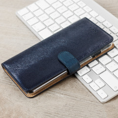 Hansmare Calf iPhone 7 Plus Wallet Case Hülle in Navy Blau