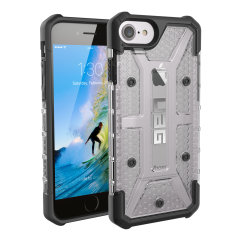 The Urban Armour Gear Plasma semi-transparent tough case in ice clear and black for the iPhone 8 / 7 features a protective case with a brushed metal UAG logo insert for an amazing rugged and stylish design.