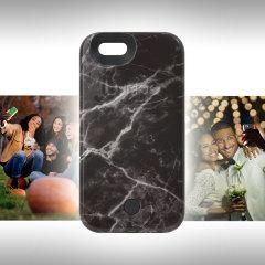 LuMee iPhone 6S / 6 Selfie Light Case Hülle in Schwarz Marmor