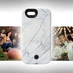 LuMee iPhone 6S / 6 Selfie Light Case - White Marble