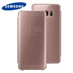Cover originale Clear View Samsung per Galaxy S7 Edge - Oro Rosa