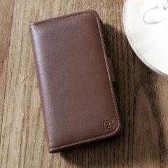 Een geraffineerde lichtgewicht case van echt bruin leer met een magnetische sluiting. De Olixar echt leren wallet case is de perfecte bescherming voor je Samsung Galaxy Note 7 en biedt ook gleufjes voor je pasjes, kleingeld en documenten.