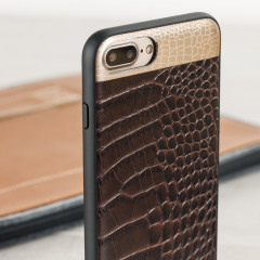 CROCO2 iPhone 7 Plus Lederhülle Case Braun