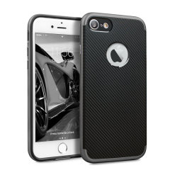 Hybrid layers of robust TPU and hardened polycarbonate with a premium matte finish non-slip carbon fibre design, the Olixar X-Duo case in black and metallic grey keeps your iPhone 7 safe, sleek and stylish.
