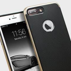 Hybrid layers of robust TPU and hardened polycarbonate with a premium matte finish non-slip carbon fibre design, the Olixar X-Duo case in black and gold keeps your iPhone 8 Plus / 7 Plus safe, sleek and stylish.