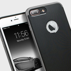 Hybrid layers of robust TPU and hardened polycarbonate with a premium matte finish non-slip carbon fibre design, the Olixar X-Duo case in black and metallic grey keeps your iPhone 7 Plus safe, sleek and stylish.