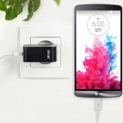 Cargue su LG G3 o cualquier otro dispositivo mediante conexión USB de manera rápida y eficaz. Este cargador de red Olixar tiene una salida de 2.4A para una carga rápida e incluye un cable Micro USB.
