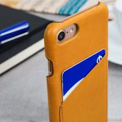 Mujjo Kunstleder iPhone 7 Wallet Hülle in Tan