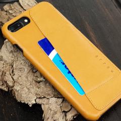 Mujjo Kunstleder iPhone 7 Plus Wallet Hülle in Tan