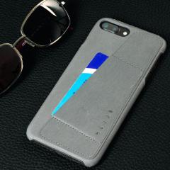Mujjo Kunstleder iPhone 7 Plus Wallet Hülle in Grau