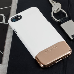 Incipio Edge Chrome iPhone 7 Case Hülle Weiß Opal / Chrome Rosa Gold