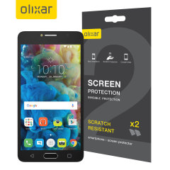 Keep your Alcatel POP 4S screen in pristine condition with this Olixar scratch-resistant screen protector 2-in-1 pack.