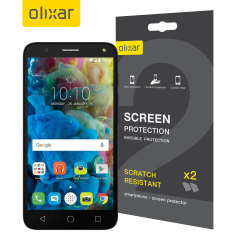 Keep your Alcatel POP 4 Plus screen in pristine condition with this Olixar scratch-resistant screen protector 2-in-1 pack.