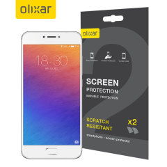 Keep your Meizu Pro 6 screen in pristine condition with this Olixar scratch-resistant screen protector 2-in-1 pack.