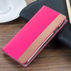 SLG D5 iPhone 7 Calfskin Leather Wallet Case - Rose