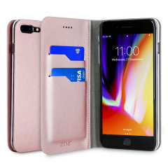 Protect your iPhone 8 Plus with this durable and stylish rose gold leather-style wallet stand case from Olixar, featuring two card slots. What's more, this case transforms into a handy stand to view media.