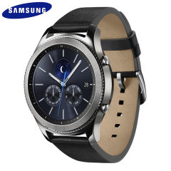 Check out Facebook posts, catch up on tweets, texts and email as well as play music using the newly designed Samsung Gear S3 Classic Smartwatch complete with black leather strap.