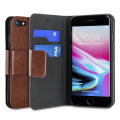 Protect your iPhone 8 / 7 with this durable and stylish brown leather-style wallet case from Olixar, featuring two card slots. What's more, this case transforms into a handy stand to view media.