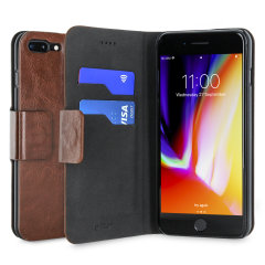 Protect your iPhone 8 Plus / 7 Plus with this durable and stylish brown leather-style wallet case from Olixar, featuring two card slots. What's more, this case transforms into a handy stand to view media.