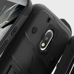 Equip your Motorola Moto G4 Play with military grade protection and superb functionality with the ultra-rugged Bolt case in black from Zizo. Coming complete with a tempered glass screen protector and a handy belt clip / kickstand.