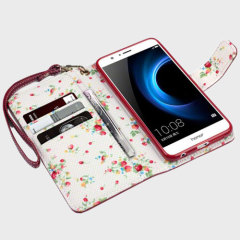Olixar Leather-Style Huawei Honor 8 Wallet Case - Floral Red