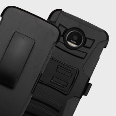 Equip your Motorola Moto Z with military grade protection and superb functionality with the ultra-rugged Combo case in black from Zizo. Coming complete with a handy belt clip / kickstand, this case is the perfect companion for your Moto Z Force.