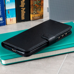 Protect your Motorola Moto Z with this durable and stylish black leather-style wallet case from Olixar, featuring card slots. What's more, this case transforms into a handy stand to view media.