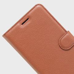 Protect your Motorola Moto Z with this durable and stylish brown leather-style wallet case from Olixar, featuring card slots. What's more, this case transforms into a handy stand to view media.