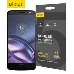 Keep your Motorola Moto Z Play screen in pristine condition with this Olixar scratch-resistant screen protector 2-in-1 pack.