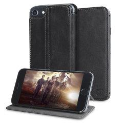 Olixar Slim Genuine Leather Flip iPhone 7 Wallet Case - Black