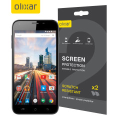 Keep your Archos 55 Helium Ultra screen in pristine condition with this Olixar scratch-resistant screen protector 2-in-1 pack.