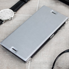Roxfit Premium Book Sony Xperia XZ Tasche in Silber / Klar