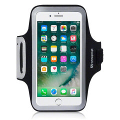Carry your Apple iPhone 7 Plus securely while you're exercising using the Shocksock Armband in black. This comfortable armband is flexible and adjustable and made out of a lightweight material.