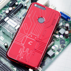 Cruzerlite Bugdroid Circuit Google Pixel Hülle in Rot