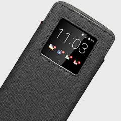 Official Blackberry Smart Pocket DTEK60 Genuine Leather Case - Black