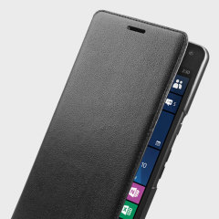 This official real leather case protects your HP Elite X3's back, sides and screen from harm while keeping your most vital cards close to hand with the official flip wallet cover in black.