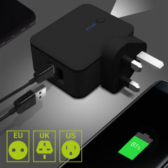 A dual USB wall charger with UK, EU and US pin configurations, plus 3000mAh power bank in one handy little fully portable package. The 2-in-1 travel adaptor is the ideal travel accessory for any occasion.