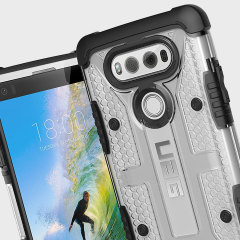 The Urban Armour Gear Plasma semi-transparent tough case in Ice clear and black for the LG V20 features a protective case with a brushed metal UAG logo insert for an amazing rugged and stylish design.