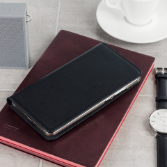 A premium slimline lightweight black genuine leather case. The Olixar genuine leather executive wallet case offers perfect protection for your Huawei Mate 9, as well as featuring a smart magnetic media stand slots for your cards, cash and documents.