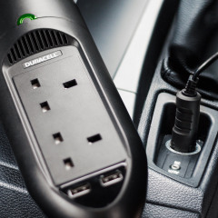 Charge USB and AC mains devices in your car with Duracell's ingenious DC to AC in-car power inverter. This sleek, lightweight adapter offers fast charging for virtually any device through its dual 2.4A USB ports and twin AC mains sockets.
