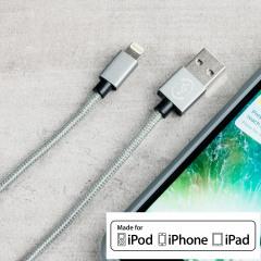 Sincronice y cargue su dispositivo Apple con conexión lightning gracias a este cable 4Smarts RapidCord con la certificación MFI de Apple. El conector USB es reversible.