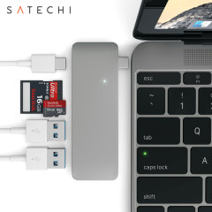 Using the USB-C (USB Type-C) port on your MacBook 12 inch, add 2 full-sized USB ports, an SD card slot & a micro SD card slot to your computer using this Satechi hub in space grey. Plug in USB devices such as a keyboard, mouse or printer to your MacBook.