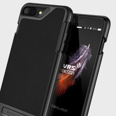 VRS Design Simpli Mod Lederlook iPhone 8 Plus / 7 Plus Case - Zwart
