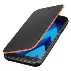 Schützen Sie Ihr Galaxy A5 2017 Rücken, Seiten und Bildschirm vor Schaden und dabei Ihre wichtigsten Karten schnell zur hand mit dem offiziellen schwarzen Neon Flip Brieftasche Cover von Samsung