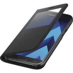 Ideaal om de tijd te checken of inkomende gesprekken te zien zonder de case te hoeven openen. De officiële Samsung S-View Fabric Premium Cover Case voor de Samsung Galaxy A5 2017 is slank en stijlvol.