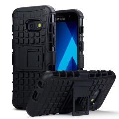 Protégez votre Samsung Galaxy A3 2017 des chocs et des éraflures grâce à cette coque ArmourDillo de couleur noire. Cette coque est composée d'un boîtier interne en TPU et d'un exosquelette externe résistant aux impacts. Elle comprend par ailleurs un support de visualisation intégré.