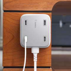 This universal Belkin charging hub provides an impressive total 5.4 Amp power across 4 USB ports. Featuring a dynamic charging chip, the hub will automatically recognize your device and select the most appropriate charging power (up to 2.4A per port).