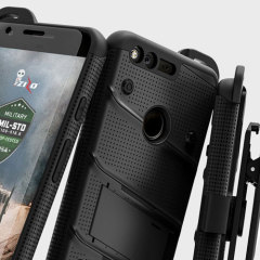 Equip your Google Pixel XL with military grade protection and superb functionality with the ultra-rugged Bolt case in black from Zizo. Coming complete with a handy belt clip and integrated kickstand.