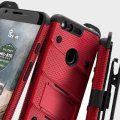 Equip your Google Pixel XL with military grade protection and superb functionality with the ultra-rugged Bolt case in red and black from Zizo. Coming complete with a handy belt clip and integrated kickstand.